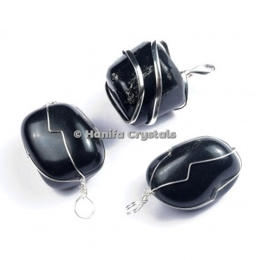 Black Obsidian Tumbled Pendants with Wire Wrap