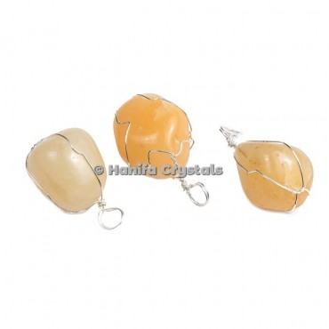 Golden Quartz Tumbled Pendants with thin Wire Wrap