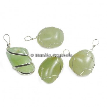 Green Aventurine Tumbled Pendants with Wire Wrap