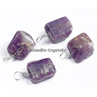 High Quality Amethyst Tumbled Pendants with Wire Wrap