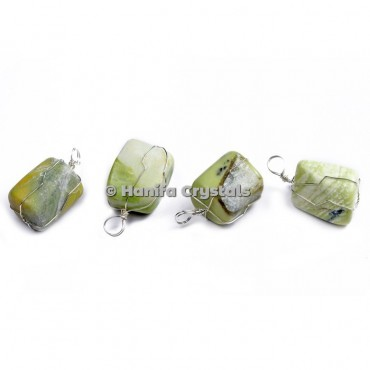 Serpentine Tumbled Pendants with Wire Wrap
