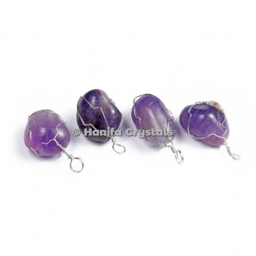 Amethyst Tumbled Pendants with thin Wire Wrap