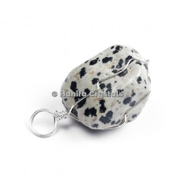 Dalmation Tumbled Pendants with Wire Wrap