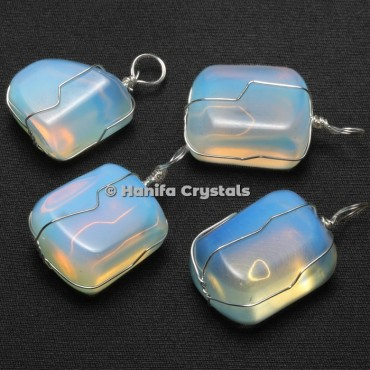 Opalite Tumbled Pendants with Wire Wrap