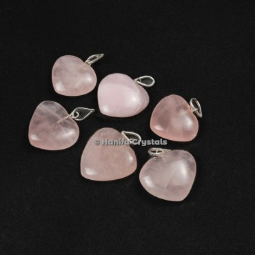 Rose Quartz Heart Shape Pendants