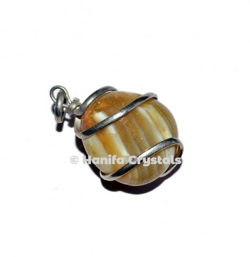 Banded Agate Wire Wrap Tumbled Pendant