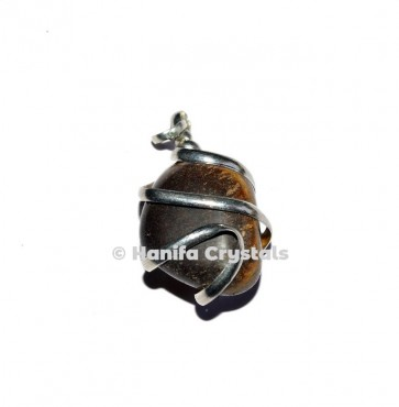 Tiger Eye Wire Wrap Tumbled Pendant