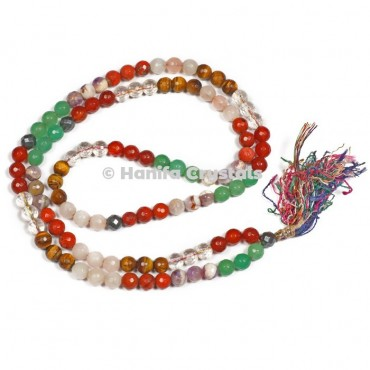 Mix Stones Faceted Japa Mala