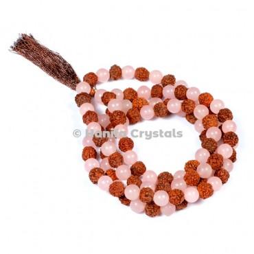 Rudraksha  with Rose Quartz Japa Mala Beads