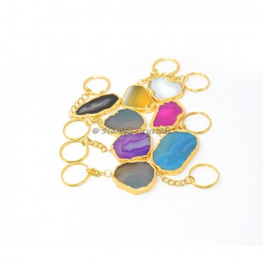 Mix Agate Electroplated Slices Keyring