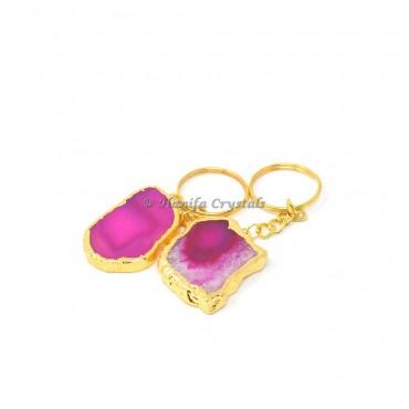 Pink Agate Electroplated Slices Keyring