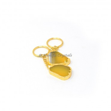 Yellow Onyx Electroplated Slices Keyring
