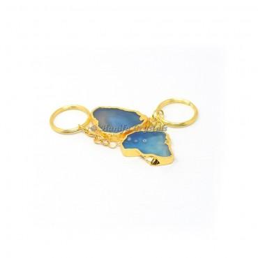 Blue Agate Slices Keyring