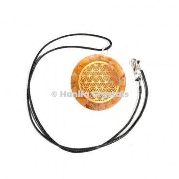 Golden Quartz Engraved Flower of Life Orgone Energy Pendants