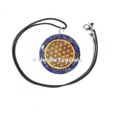 Lapis Lazuli Engraved Flower of Life Orgone Energy Pendants