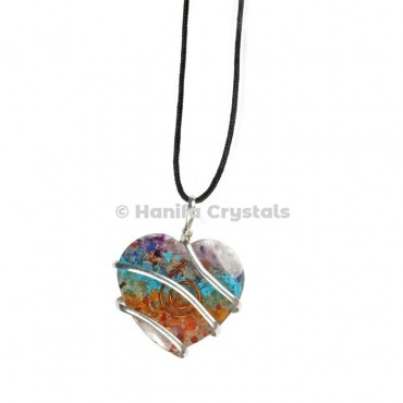 Seven Chakra Heart Shape Double Terminated Orgone Energy Pendants