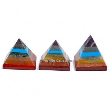 Bonded Seven Chakra Gemstone Pyramids