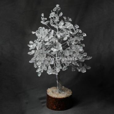 Crystal Quartz 300 Chips Gemstone Silver Wire Tree