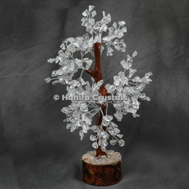 Crystal Quartz Mseal 300 Chips Gemstone  Silver Wire Tree