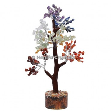 7 Chakra Mseal 300 Chips Gemstone  Silver Wire Tree