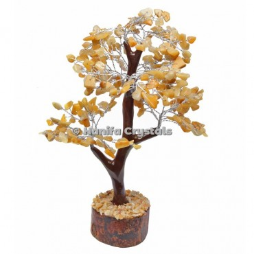 Golden Quartz Mseal 300 Chips Gemstone  Silver Wire Tree