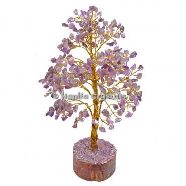 Amethyst  300 Chips Gemstone Golden Wire Tree