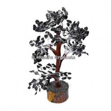 Black Jasper Mseal 300 Chips Gemstone  Silver Wire Tree
