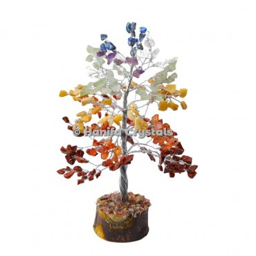 7 Chakra Stone 300 Chips Gemstone Silver Wire Tree