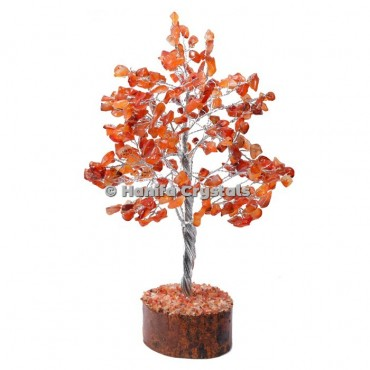 Carnelian 300 Chips Gemstone Silver Wire Tree