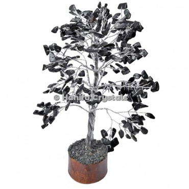 Black Japser 300 Chips Gemstone Silver Wire Tree