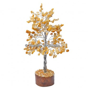 Golden Quartz 300 Chips Gemstone Silver Wire Tree