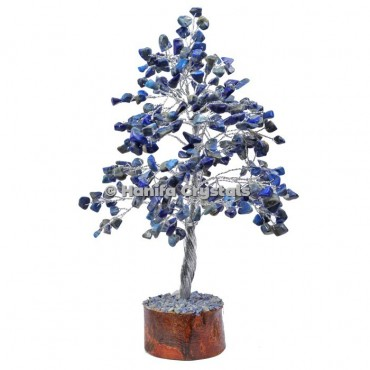 Lapis Lazuli 300 Chips Gemstone Silver Wire Tree