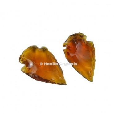 Golden Glass Indian Arrowheads