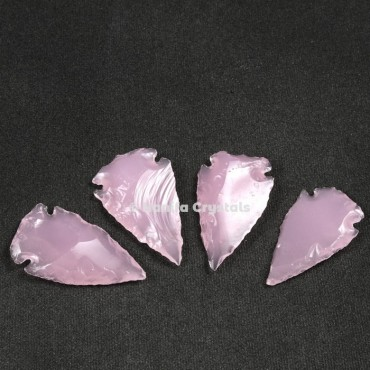 Rose Quartz Glass Indian Arrowheads