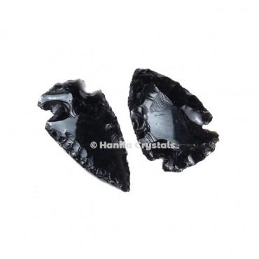 Black Glass Indian Arrowheads