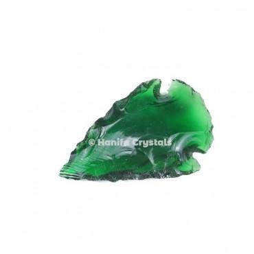Green Glass Indian Arrowheads