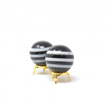 Bonded Black And White Agate Sphere With Brass Stand
