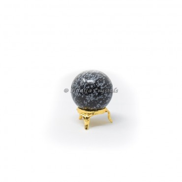 Snowflake Obsidian Sphere With Brass Stand