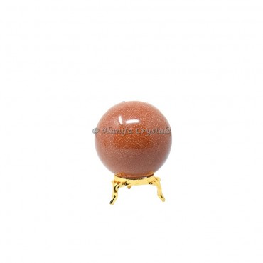 Gold Sunstone Sphere With Brass Stand