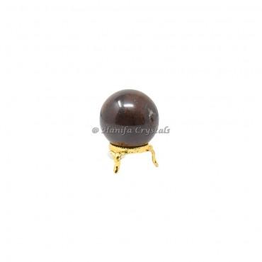 Garnet Sphere With Brass Stand