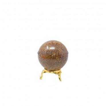 Snack Jasper Or Calligraphy Jasper Sphere With Brass Stand