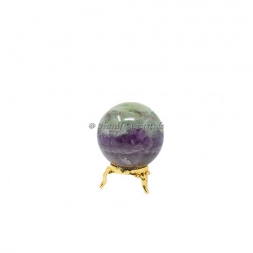 Multi Fluorite Sphere With Brass Stand