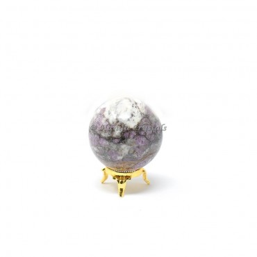 Lepidolite Sphere With Brass Stand