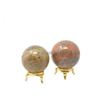 Unakite Sphere With Brass Stand