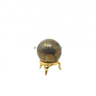 Pyrite Stone Sphere With Brass Stand
