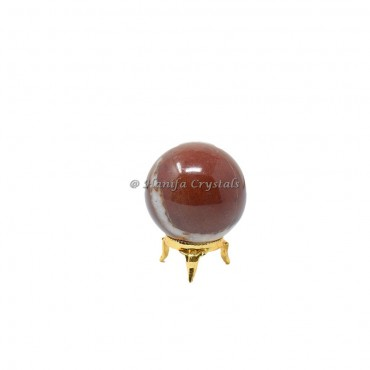 Red Jasper Sphere With Brass Stand