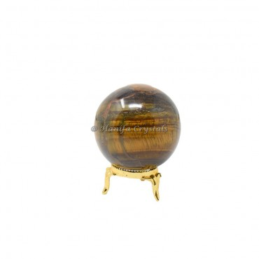 Tiger Eye Sphere With Brass Stand