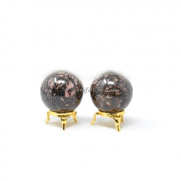 Spotted Jasper Sphere With Brass Stand