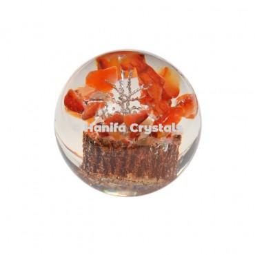 Carnelian Stone Tree in Orgone Sphere