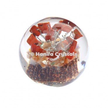 Red Jasper Stones in Orgone Sphere